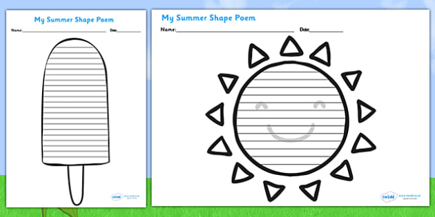 Summer Shape Poetry Templates Seasons Weather Poems Poem