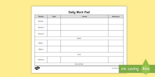 NEW * Blank Daily Work Pad Timetable - Relief teaching