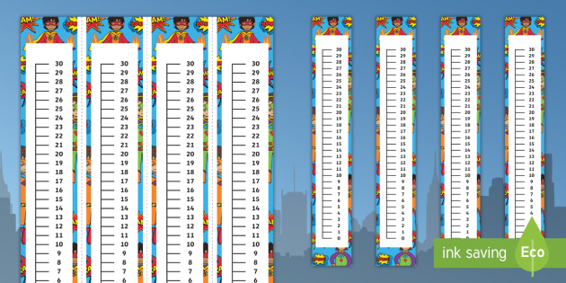 NEW * Superhero-Themed 0-30 Vertical Number Line - Number