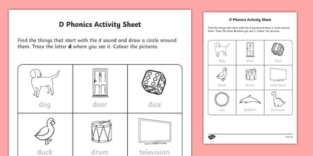 d Phonics Worksheet / Activity Sheet-Irish, worksheet - phonics worksheet