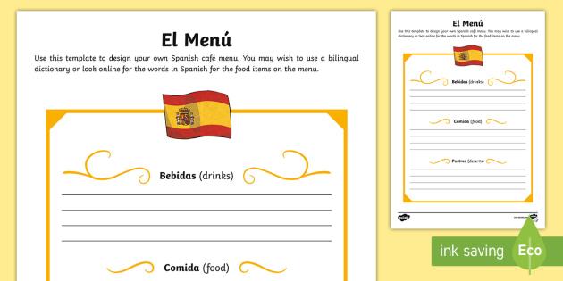 Spanish Template Role-Play Menu - Spanish food, Spanish drink, menu