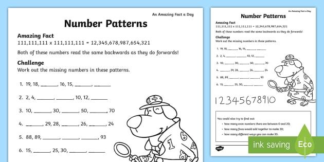 Number Patterns Worksheet / Worksheet - july, amazing fact, numbers