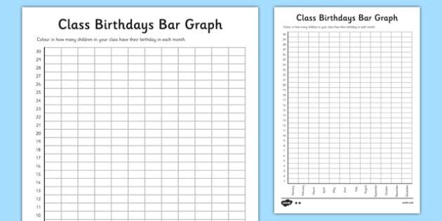 Birthdays Bar Graph - class birthdays, bar graph, graph - blank bar graph printable