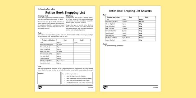 Ration Book Shopping List Worksheet / Activity Sheet, worksheet