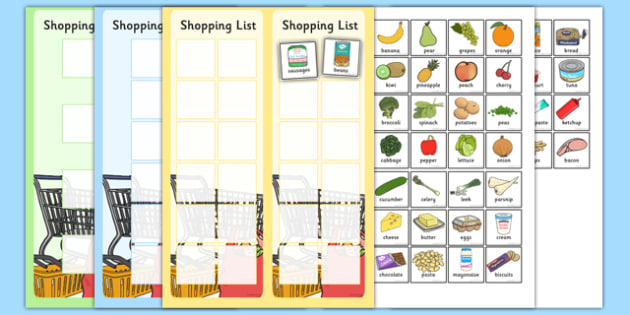 Shopping Lists and Food Cards - shopping list, shopping, shop - shopping lists