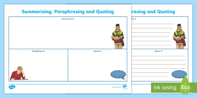 NEW * Summarising, Paraphrasing and Quoting Writing Template - Acely1796