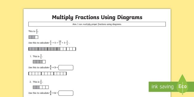 Year 5 Multiply Proper Fractions Using Diagrams Worksheet /