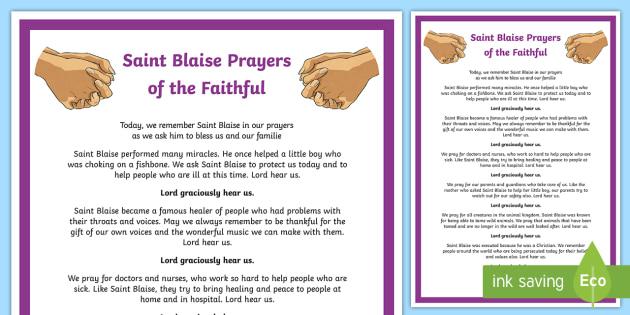 Saint Blaise Prayers of the Faithful Print-Out - prayers of the faithful