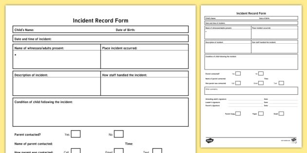 nursery incident report form
