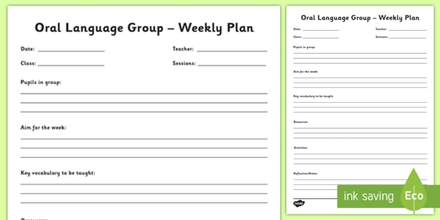 Oral Language Group Planning Template - new language curriculum