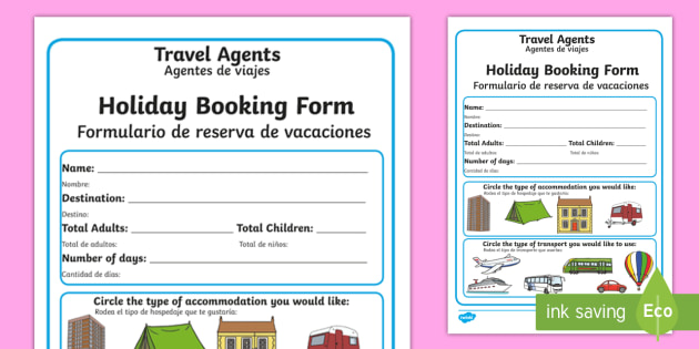 NEW * Travel Agents Booking Form - English / Spanish - Travel Agents