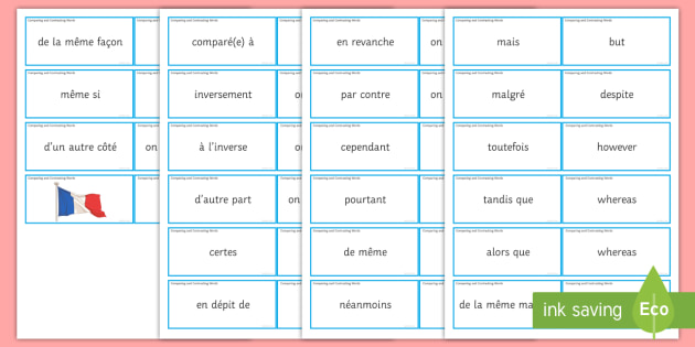 Comparing and Contrasting Word Cards French - Compare, contrast