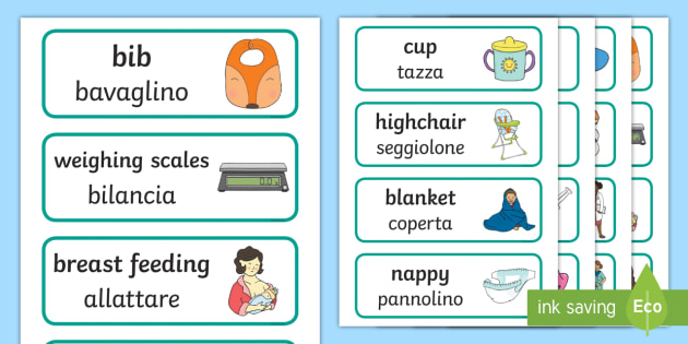 NEW * Baby Clinic Role-Play Word Cards English/Italian - Baby Clinic