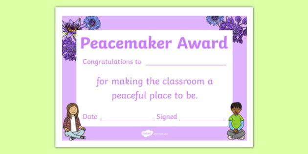 Peacemaker Award Certificate - peacemaker, award, certificate, peace