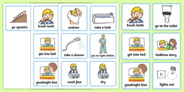 Visual Timetable (Getting Ready For Bed - Boys) - getting ready - daily timetable