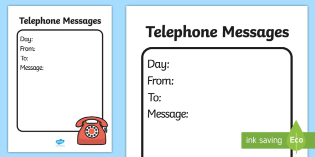 General Telephone Message Template - home corner writing, role