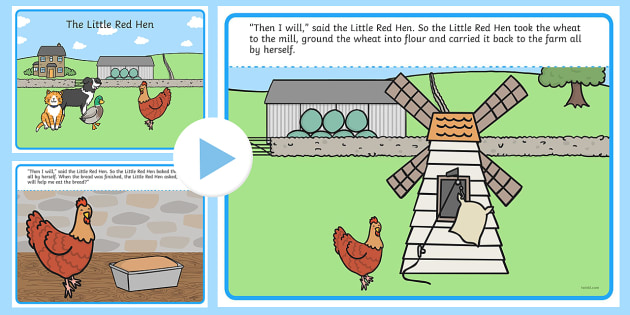 The Little Red Hen Story PowerPoint - stories, story books - powerpoint books