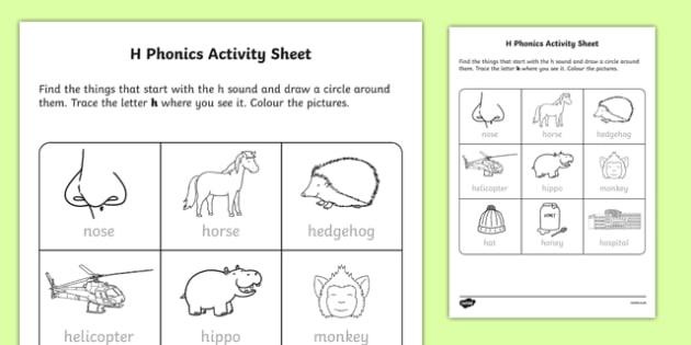 h Phonics Worksheet / Activity Sheet-Irish, worksheet - phonics worksheet