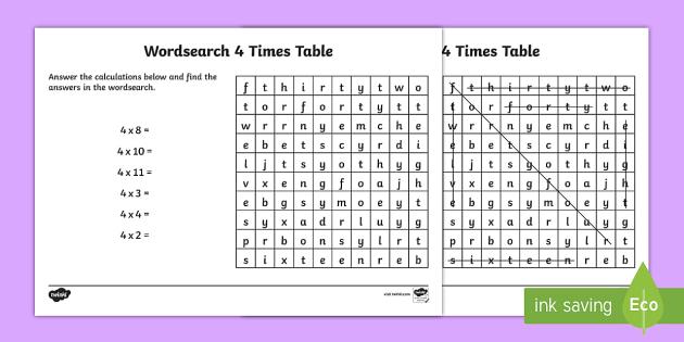 Multiplication 4 Times Tables Wordsearch Worksheet