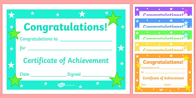 Editable Reward Certificates for Primary Classes - Certificates - congratulations certificate
