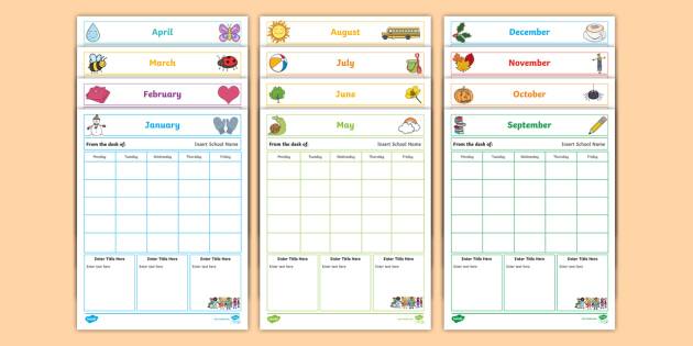 NEW * Editable Monthly Themed Classroom Newsletters - planning, teacher