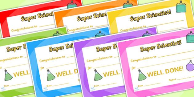 Science Club Certificate - science club, certificates, reward