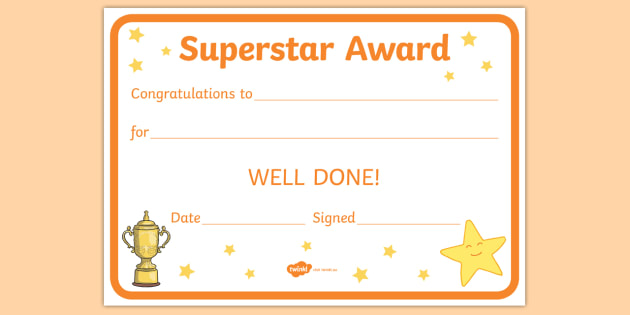 FREE! - Superstar Award Certificates - behaviour management, certificate