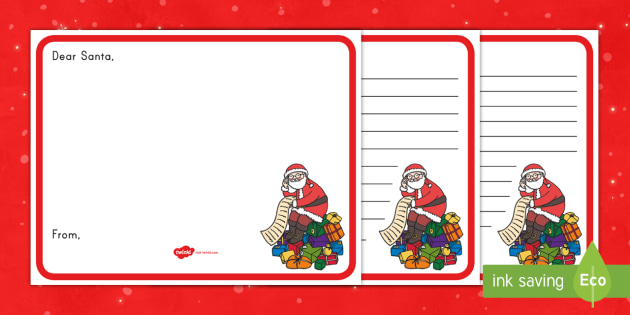 Letter to Santa Writing Template - Santa, writing, template, letter
