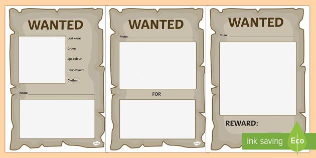 Blank Wanted Posters - blank, wanted, posters, display