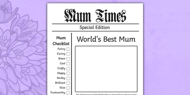 Mothers Day Newspaper Card Template - ESL Mother\u0027s Day Card - mothers day card template