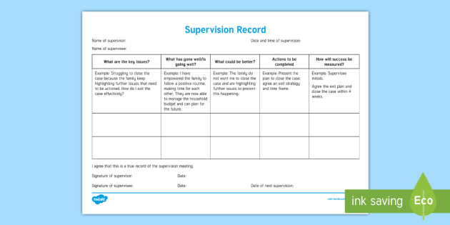 Supervision Record Young People  Families Case File Recording