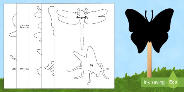 Minibeasts Shadow Stick Puppets - minibeasts, templates - puppet templates