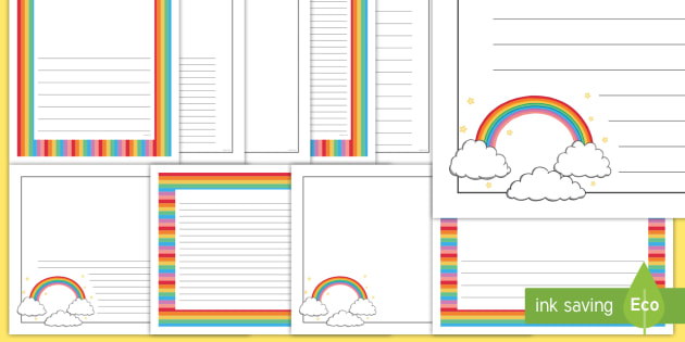 Rainbow Page Borders - literacy, writing, frame, rainbow - rainbow page border