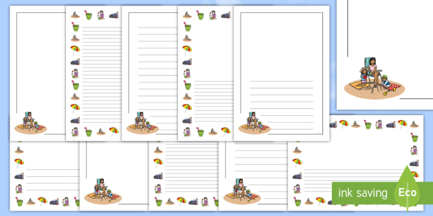 Summer Holiday Bucket List Page Border Pack Beach