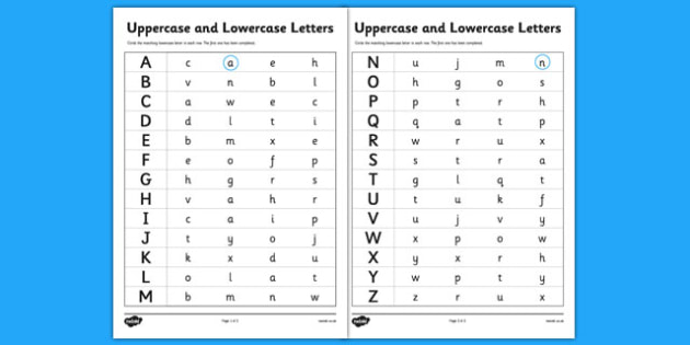 Uppercase and Lowercase Letters Worksheet - uppercase