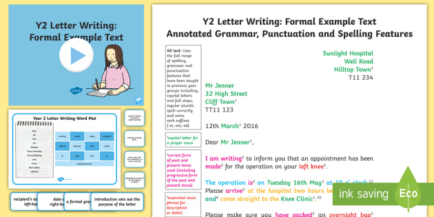 Writing A Letter KS1 - Example Texts Y2, formal letter, letter