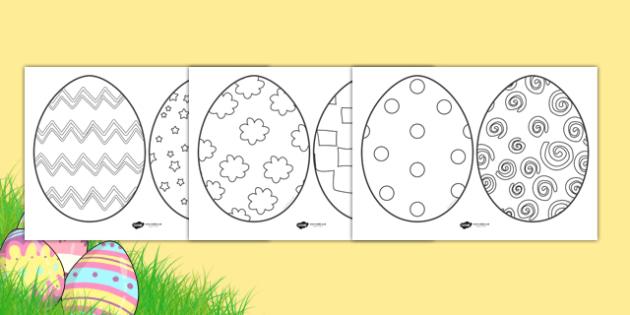 KS1 Easter Egg Template Colouring Sheets