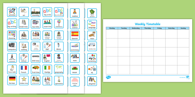 Weekly Planner with Cards Visual Timetable - visual aid, early years