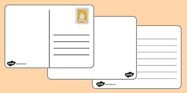 FREE! - Blank Postcard Template - Primary Resource