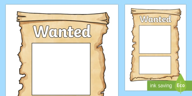 Wanted Poster Templates - Cowboy, wanted poster, template