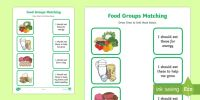 Food Group Matching Activity Worksheet - healthy eating, food