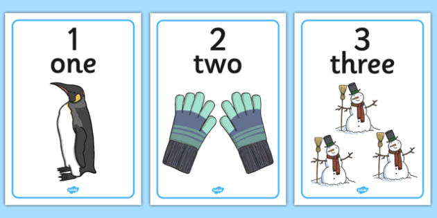 Winter Themed Number Posters with Words  Numbers (1-10)