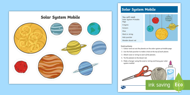 Solar System Mobile Craft Activity - Space, solar system, galaxy, craft