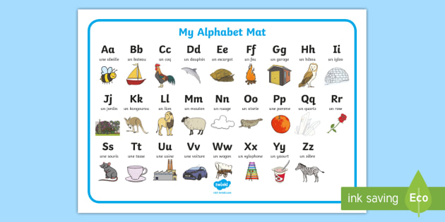 Alphabet A to Z French Word Mat - french, alphabet, picture - word alphabets