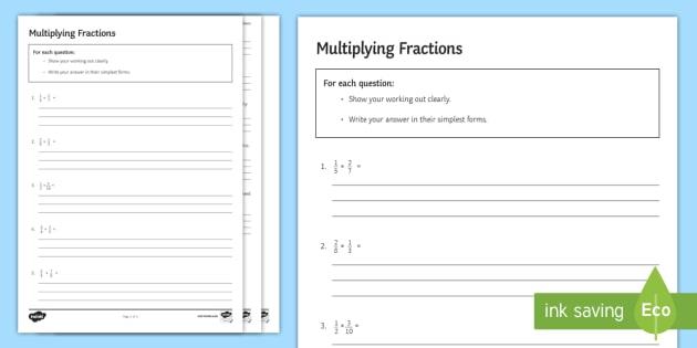Multiplying Fractions Worksheet / Activity Sheet - Simplify - multiplying fractions worksheet