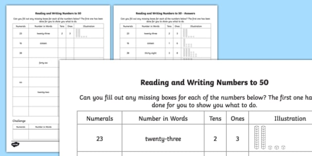 Reading and Writing Numbers to 50 Worksheet / Activity Sheet