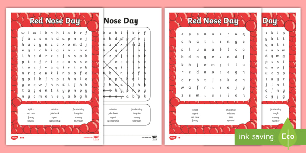 Higher Ability Red Nose Day Word Search