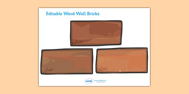 Brick Template Printable - Word Wall, editable, brick, bricks, words