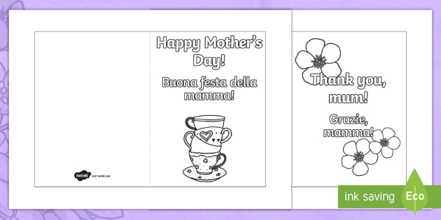 Mother\u0027s Day Card Templates (Colouring) English/Italian