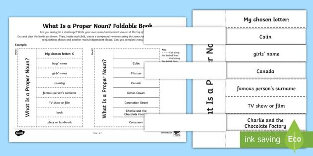What Is a Proper Noun? Foldable Book Activity - proper nouns